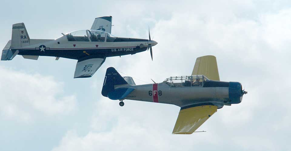T-6s - a Texan II and a Texan